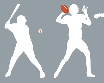 Kids vinyl wall decal set of 4 soccer player football basketball and baseball player we can do any color any size