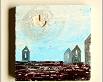 SALE 20.00 Off | Art Block,Home Decor,Office Decor or Cabin Decor | A Winter VIllage in Cool Blues, Browns, Silver--Acrylic on Upcycled Wood