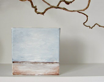 Landscape Painting in an Impressionist Style--Big Sky, Horizon, Quiet Land Below--Original Abstract Acrylic Art Block