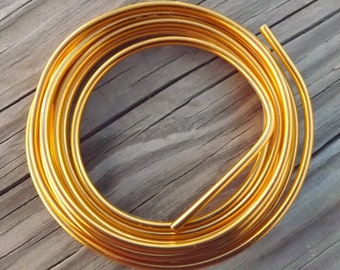 Aluminum wire for jewelry and crafts, 6 gauge ,bright gold Omega wire