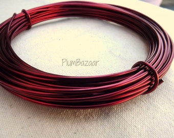 Aluminum wire for jewelry and crafts, 2mm 12 gauge round, wine red, 39 foot coil