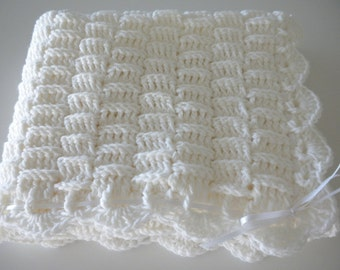 Baby Child  Blanket Crochet White with Ribbon Child Stroller Carriage Car Size 23 X 29 Handmade
