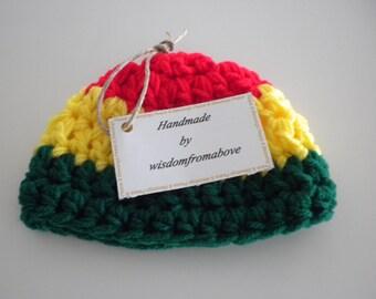 Baby Hat Crochet Rasta Bob Marley Newborn Infant Photography Prop 0 - 3 months