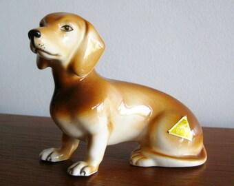 Vintage Royal Dux Dachshund Czech Bohemia Art Pottery Ceramic Figurine