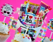 INSTANT DOWNLOAD, I Love The 80's Cupcake Toppers, 1980's Toppers, Printable, Glamorous Sweet Events