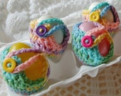 Crochet Egg Cozy  - Easter Colors with Button Closure