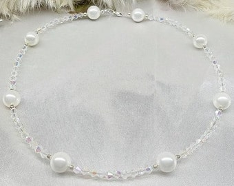Flower Girl Necklace White Pearl Necklace Baby Necklace Clear AB Crystal Necklace Adjustable Necklace Sterling Silver Necklace BuyAny3+1Free