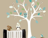 White tree wall decal for baby turquoise blue green childrens wall art - 0237