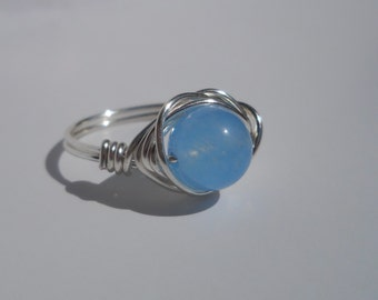 Silver Plated Wire Wrapped Aquamarine Ring, Custom Ring, Wire Wrapped Ring, Wire Ring, Aquamarine, March birthstone, birthstone ring