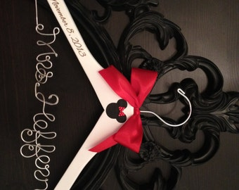 Disney Bridal Hanger, Wedding Hanger, Brides Hanger, Mickey & Minnie Wedding, Disney Wedding, Personalized Hanger, Mickey Hanger