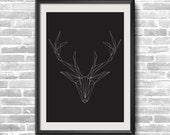 Deer head triangles print
