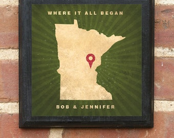 """Minnesota MN """"Where It All Began"""" Wall Art Sign Plaque Gift Present Personalized Color Custom Minneapolis St paul Duluth Classic"""