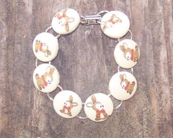 Old Fashion Bunny Button Bracelet
