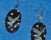 POLYMER CLAY EARRINGS Designer Jewelry Handmade Fine Art Black Hand Painted Dangle Earrings Bird Clay Earrings Swarvoski crystal earrings