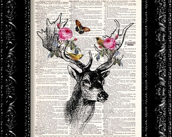 Floral Forest Deer Vintage Dictionary Print Vintage Book Print Page Art Upcycled Vintage Book Art