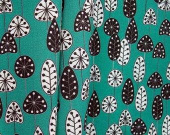 Bold garden fabric - trees black and white on teal mini print fat quarter