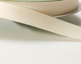 Ivory Twill Bias Tape 5/8 Ribbon by the Yard
