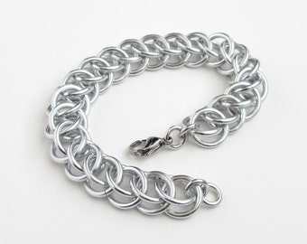 Chunky chainmail bracelet, Half Persian 3 in 1 weave, silver aluminum jewelry for men or women