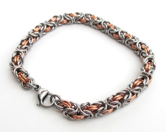 Copper and stainless steel bracelet, chainmail Byzantine bracelet