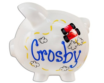 Hand painted Personalized Ceramic Race Car Piggy Bank for Boys - nascar, formula one, racing, cars coin banks for children