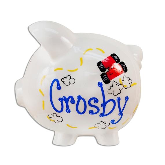 Hand painted personalized ceramic race car piggy bank boys - Ceramic piggy banks for boys ...
