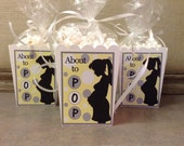 About To Pop Yellow and Gray Baby Shower Popcorn Favor Boxes