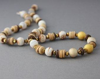 white agate and gold necklace beaded coconut wood czech glass