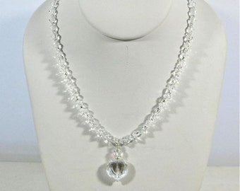 Crystal Heart Pendant Necklace, Swarovski Elements Crystals Bridal Necklace, Clear Crystal Necklace
