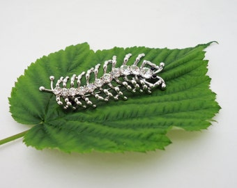 Caterpillar Brooch/Pin, Sparkling Rhinestone Brooch, Large Caterpillar Brooch, UK Seller