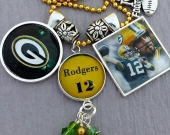 Green Bay Packer Necklace, Packer Jewelry, Custom Sports Jewelry 3 Pendants, Aaron Rodgers, Packer Fan, Football Necklace, Christmas Gift