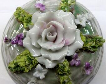 Vintage Elfinware Floral Moss Covered Casket Trinket Box from Germany
