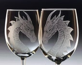 Wedding Wine  Glases- Dragons - renaissance glass Set of two