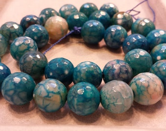 Turquoise Blue Marbled Faceted Agate Beads 12mm