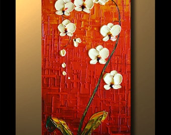 """Orchid Original Contemporary Textured Oil Floral Painting on canvas by P. Nizamas 36"""" ready to hang accent color"""
