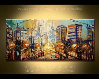 "Palette Knife Abstract Painting 48"" x 24"" ORIGINAL Ready to ship Modern Oil  The City  from  Paula NizamasEnormous"