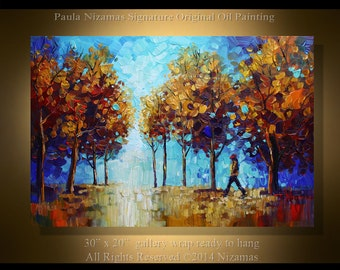 Landscape Oil & Acrylic Painting At the Park PALETTE KNIFE  On Canvas Original By Paula Nizamas ready to ship