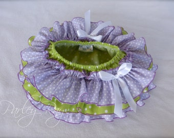 Beautiful Parley Ray Baby Girls Green and Purple Polkadots all around Ruffle Skirt Ruffled Baby Bloomers/ Diaper Cover / Photo Props