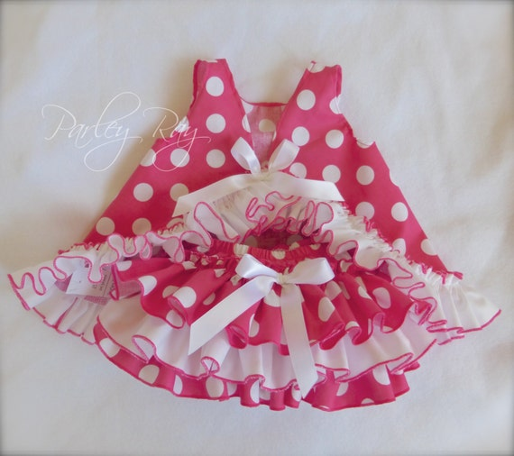 Beautiful Parley Ray Minnie Mouse Pink Polka Dots Pinafore, Ruffled Baby Bloomers and matching Bracelet Diaper Cover / Photo Prop Disneyland