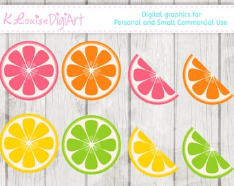 Citrus Clipart Lemon Orange Lime Digital clipart for Personal and Small Commercial Use
