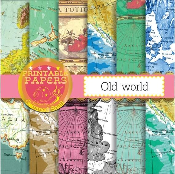 Map Digital Paper Old World Vintage Maps Antique By