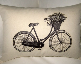 French Bicycle Pillow, Shabby Chic Vintage Bike of Flowers, Ivory Cotton Cushion, Affordable Home Decor, Neutral, Country farmhouse