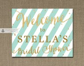 Blue Mint & Gold Welcome Sign Gold Glitter Bridal Shower Wedding Buffet Food Table Sign Printable 8x10 DIY Digital or Printed - Stella Style