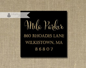"Black & Gold Glitter Address Labels Stickers 1.25"" Square Printable Return Address Labels Black Gold DIY Digital or Printed - Mila Style"