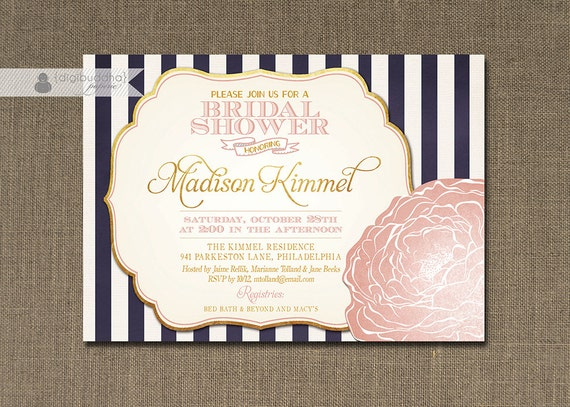 Blush Pink & Gold Bridal Shower Invitation Navy Stripes Shabby Chic ...