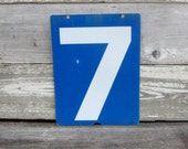 Vintage Metal Number Six or Seven Price Sign Double Sided 6 or 7 Old Gas Station Bent Number Blue & White Address Sign Plate