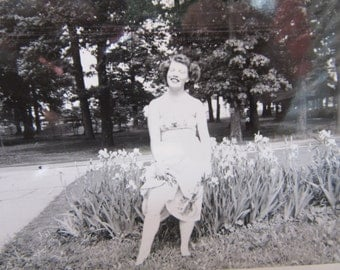 Vintage Photograph Attractive Young Woman Showing Leg Upskirt Risque 1940s Era Pin Up Amateur Snapshot Posing Antique Picture Vintage Photo