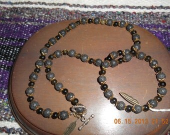 Lava Rock and Red Tigers Eye Necklace and Bracelet