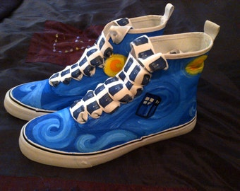 Dr Who Van Gogh Tardis hand painted Converse style canvas high tops with Tardis shoe laces!