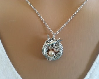 Golden Beige  Freshwater  Pearl Bird's Nest Necklace
