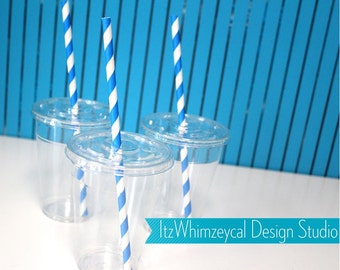 Clear Cups With Lids | Party Cups With Lids | Turquoise | Paper Straws | 9oz | Disposable Cups | Plastic Cups | Cups With Lids | Party Cups